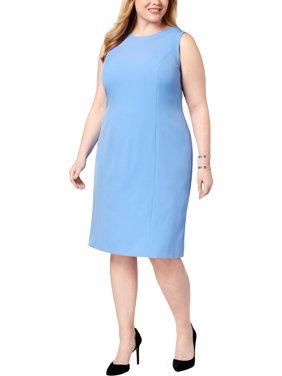 956f9d8fdb0c Product Image KASPER Womens Blue Sleeveless Knee Length Sheath Wear To Work Dress  Plus Size: 14W