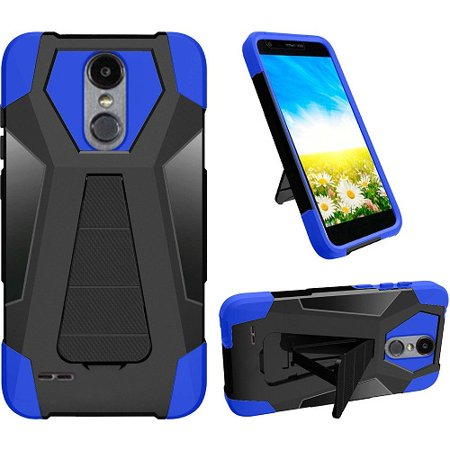 (Phone Case for LG Fortune 2, LG Risio 3, LG K8 2018, LG Zone 4 (Verizon), LG Tribute Dynasty, LG Aristo 2, Hybrid Cover Case with Kickstand + Screen Protector (Blue))
