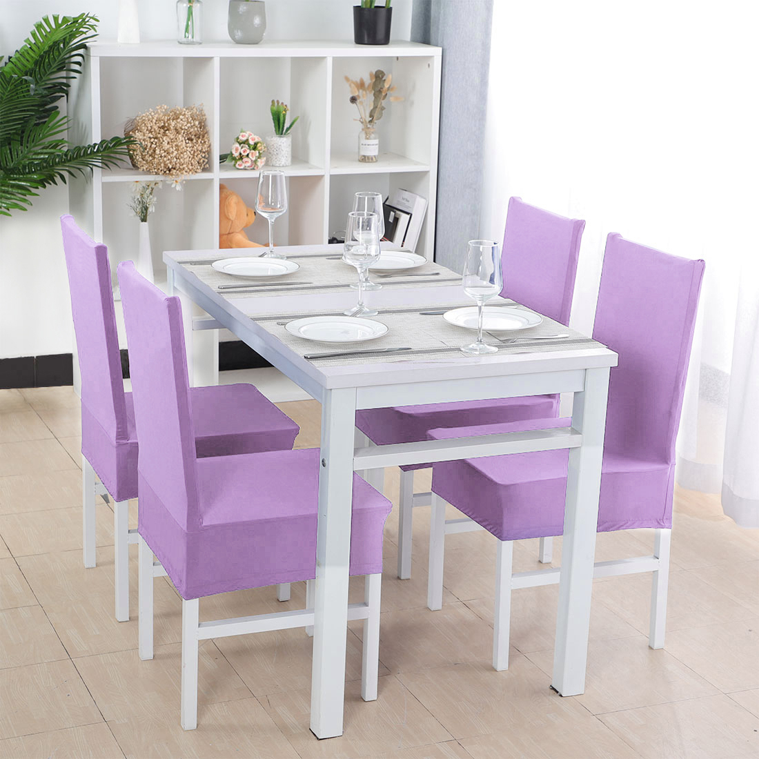 Light Purple Stretchy Home Restaurant Wedding Dining Chair Cover Set of 4
