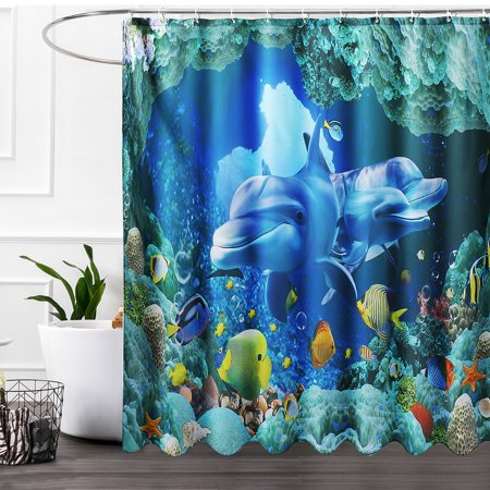 1/3/4pcs Waterproof Bathroom Set 3D Deep Sea Dolphin Shower Curtain With Hooks Bath Mat Non-Slip Rug Lid Toilet Cover for Home Decor Gift
