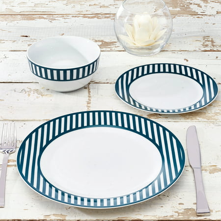 Nautical Collection 12-Piece Porcelain Striped Dinnerware Set, Walmart Exclusive ()