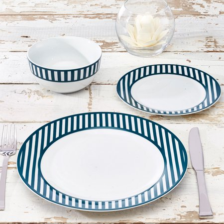 Nautical Collection 12-Piece Porcelain Striped Dinnerware Set Only $14.99