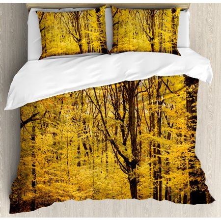Fall Decorations King Size Duvet Cover Set  Epic View Deep Down In Forest With Shady Leaves Rural Habitat Scene  Decorative 3 Piece Bedding Set With 2 Pillow Shams  Yellow Brown  By Ambesonne