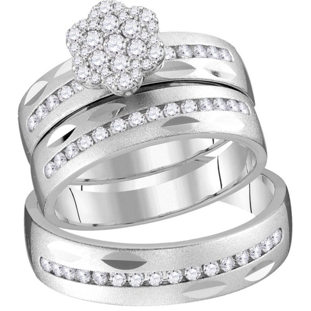 14kt White Gold His & Hers Round Diamond Matching Bridal Wedding Ring Band Set (.75 cttw.)