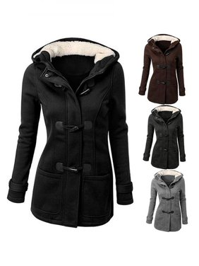 Girl12Queen Women's Winter Classic Style Flocked Hooded Toggle Duffle Coat Jacket Outerwear