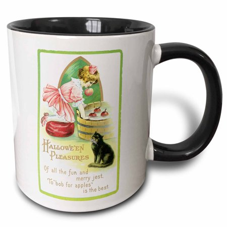 3dRose Vintage Halloween Lilttle Girl Bobbing for Apples with a Black Cat, Two Tone Black Mug, 11oz (Bobbing Apples Halloween)