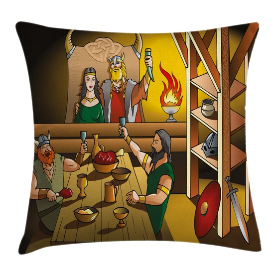 Cartoon Throw Pillow Cushion Cover, King and Queen Feasting with Brave Warriors Ancient ...