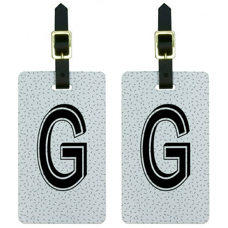 Letter G Initial Sprinkles Black White Luggage Tags Suitcase ID, Set of - White Suitcase