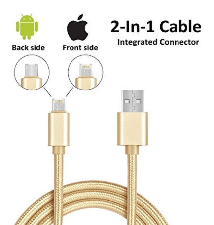 iPhone Lightning + Android Micro USB Universal 2-in-1 Charger Cable Braided Fast Adapter Cord, Front Side for iPhone iPad Back Samsung HTC LG Moto Huawei 3.3 ft (Gold)