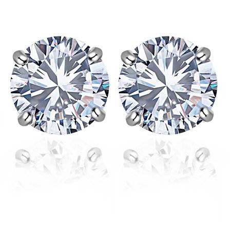 Orchid Jewelry 14k Solid White Gold Round-Cut 4 mm White CZ Stud Earrings For Women