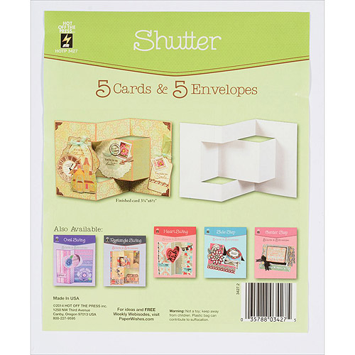 Hot Off The Press Die, Cut Cards with Envelopes, Shutter, 5-Pack Multi-Colored