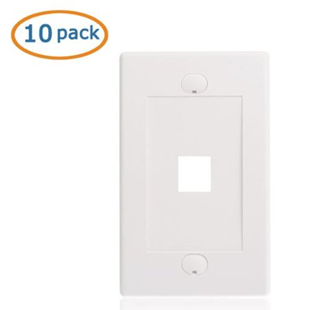 [UL Listed] Cable Matters 10-Pack 1 Port Keystone Wall Plate (Cat6 / Cat5e Ethernet Wall Plate) in White