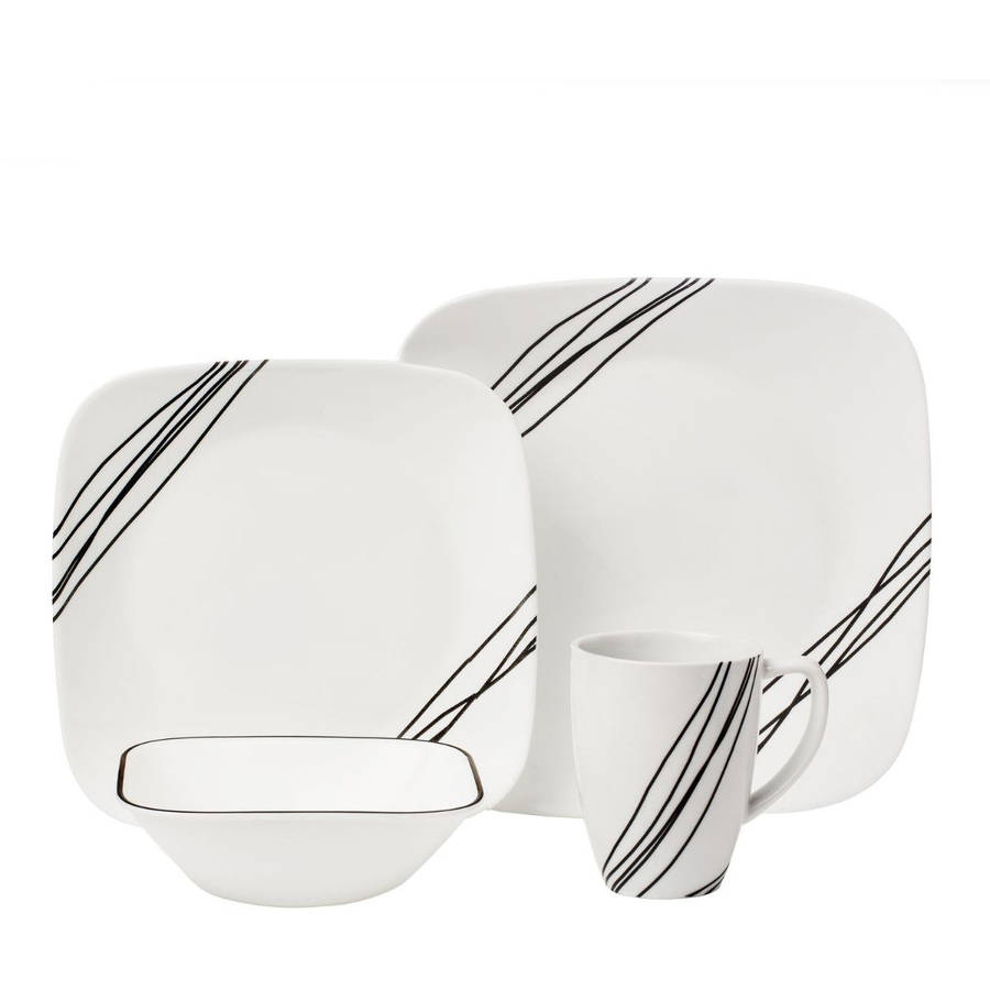 Corelle Squares Simple Sketch 16-Piece Dinnerware Set