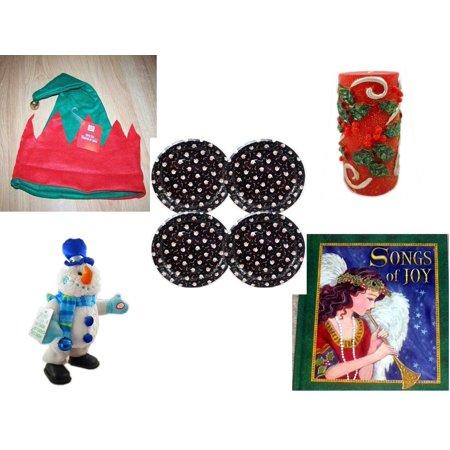 9b1e58abd09da Christmas Fun Gift Bundle  5 Piece  - Elf Hat w  Jingle Bell - Candle Holly  Berry Pillar 3 ...