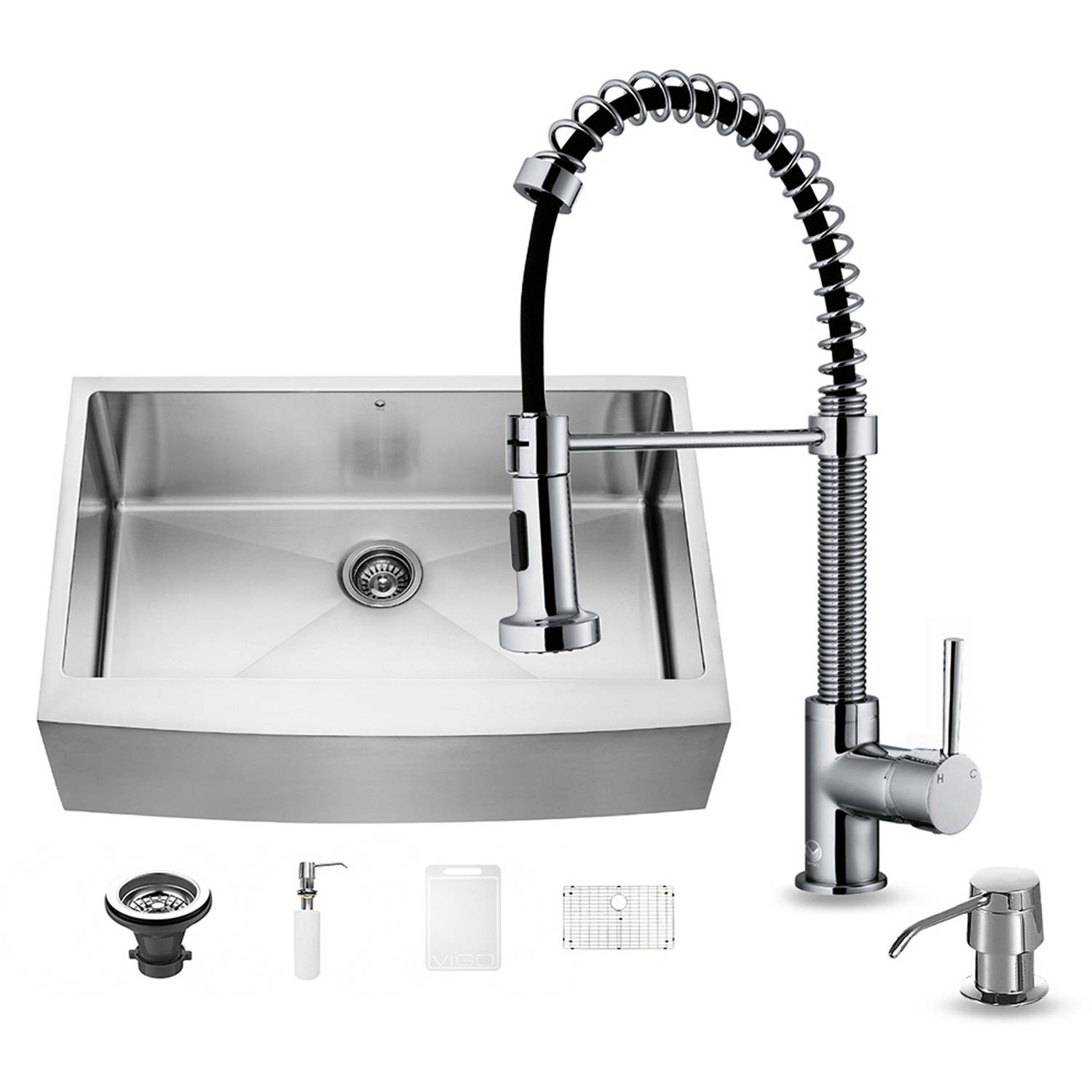 """Vigo All-in-One 33"""" Farmhouse Stainless Steel Kitchen Sink and Chrome Faucet Set by Generic"""