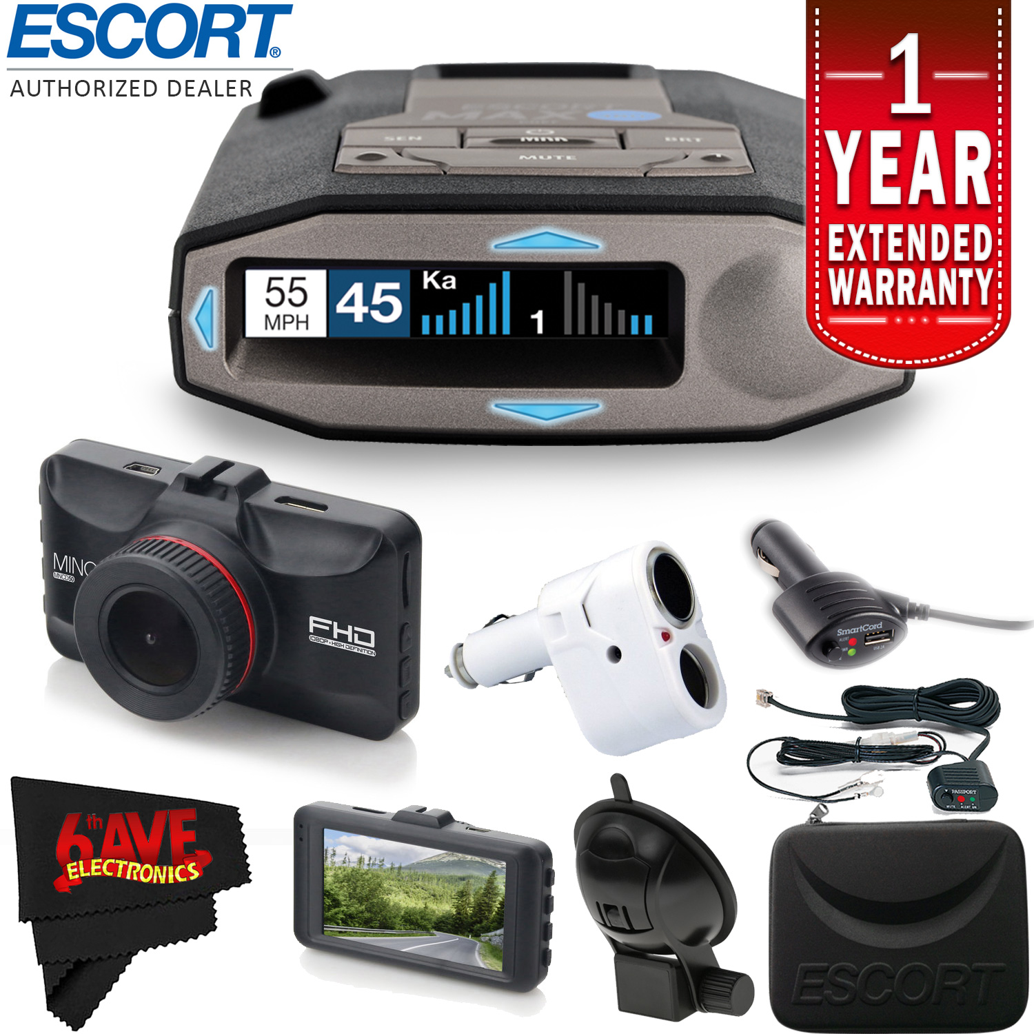 Escort Max 360C Radar Laser Detector with Wi-Fi + Escort Smart Direct Power Cord (Blue) + 1-Year Extended... by 6AVE