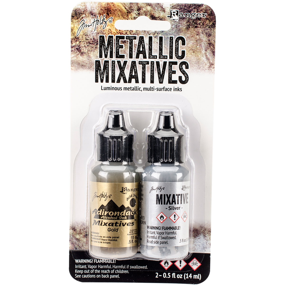 Tim Holtz Alcohol Ink Metallic Mixatives .5oz 2/Pkg-Gold & Silver
