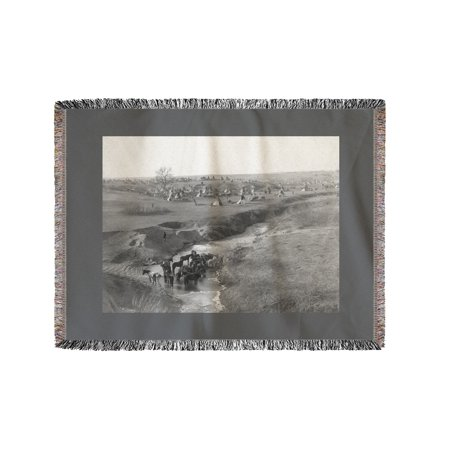 Lakota Indian Camp at the White Clay Creek Watering Hole Photograph (60x80 Woven Chenille Yarn Blanket)