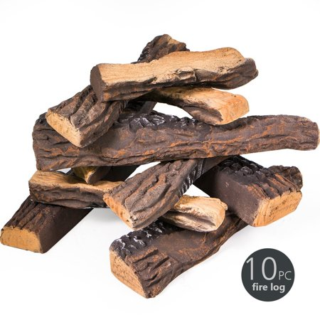 Bronze Fireplace Log - 8 PC Decorative Realistic Flame Petite Fireplace Ceramic Wood Log Set