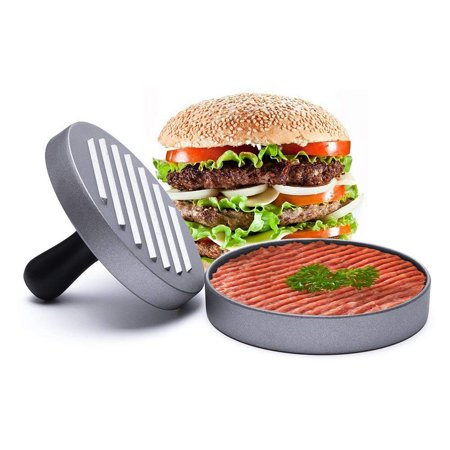Halloween Burger Names (Hamburger Press Aluminum Burger Press- Heavy Duty Non-Stick Hamburger Patty Maker for Stuffed Burgers, Halloween, Party, BBQ Grill and Essential Kitchen)