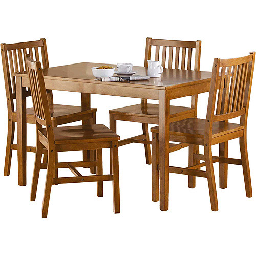 Mainstays 5 Piece Wood Dining Set, Acorn
