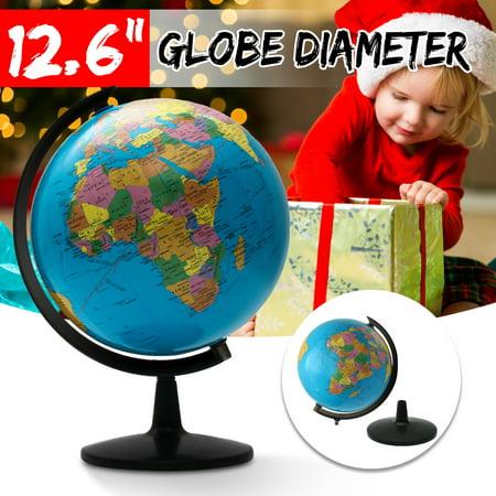 Large 12.6''Home Rotating World Earth Globe Map Geography Education Desktop Decor Xmas Birthday Gift (Earth Globe Electronic)