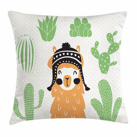 Llamas In Hats (Llama Throw Pillow Cushion Cover, Llama in a Traditional Ethnic Bolivian Hat Smiling Comic on Polka Dots Illustration, Decorative Square Accent Pillow Case, 16 X 16 Inches, Multicolor, by)