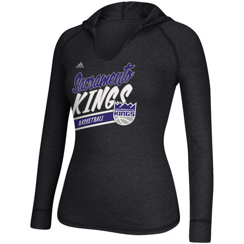 Women's adidas Black Sacramento Kings Stripe Slant Long Sleeve Hooded T-Shirt by Adidas
