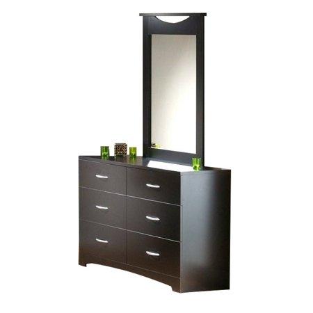 Tropical Island Dresser Mirror - South Shore Back Bay Double Dresser and Mirror Set in Dark Chocolate