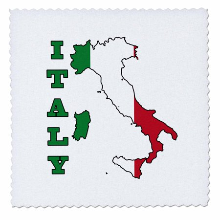 3dRose The flag of Italy in the outline map of the country and name, Italy - Quilt Square, 6 by 6-inch (Italian Flag Outline)