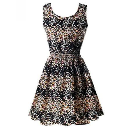 Casual Women Sleeveless Retro Short Sundress Floral Plaid Stripe -
