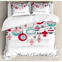 Christmas Queen Size Duvet Cover Set, Stylized Noel Season Holiday Elements in Colorful Various Geometric Size Forms, Decorative 3 Piece Bedding Set with 2 Pillow Shams, Multicolor, by Ambesonne
