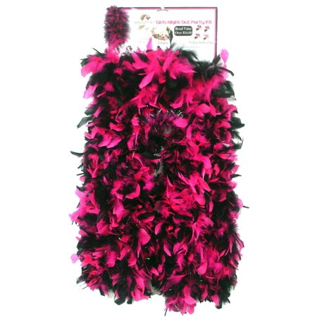 Girls Night Out Party Kit Bachelorette 4 Feather Boas, Rings, Clips 1 Tiara Hot Pink Black - Bachelorette Costume