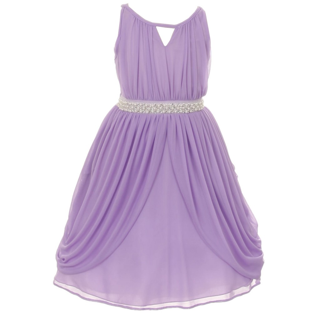 Girls Lilac Chiffon Pearl Sash Flower Girl Special Occasi...