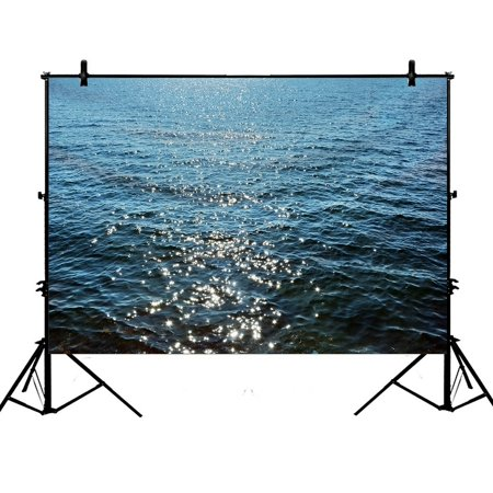 PHFZK 7x5ft Beach Theme Backdrops, Deep Blue Sea Ocean Waves Photography Backdrops Polyester Photo Background Studio Props (Beach Themed Photo Props)