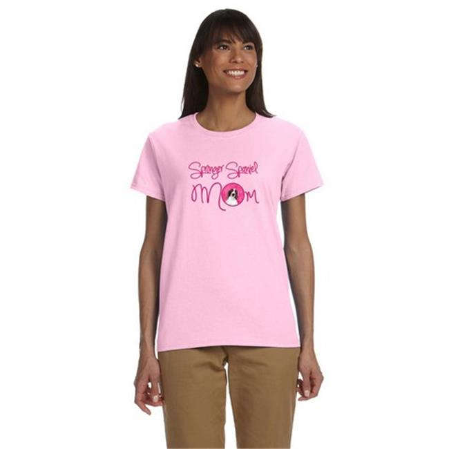 Carolines Treasures SC9131PK-978-S Pink Springer Spaniel Mom T-Shirt Ladies Cut Short Sleeve, Small - image 1 of 1