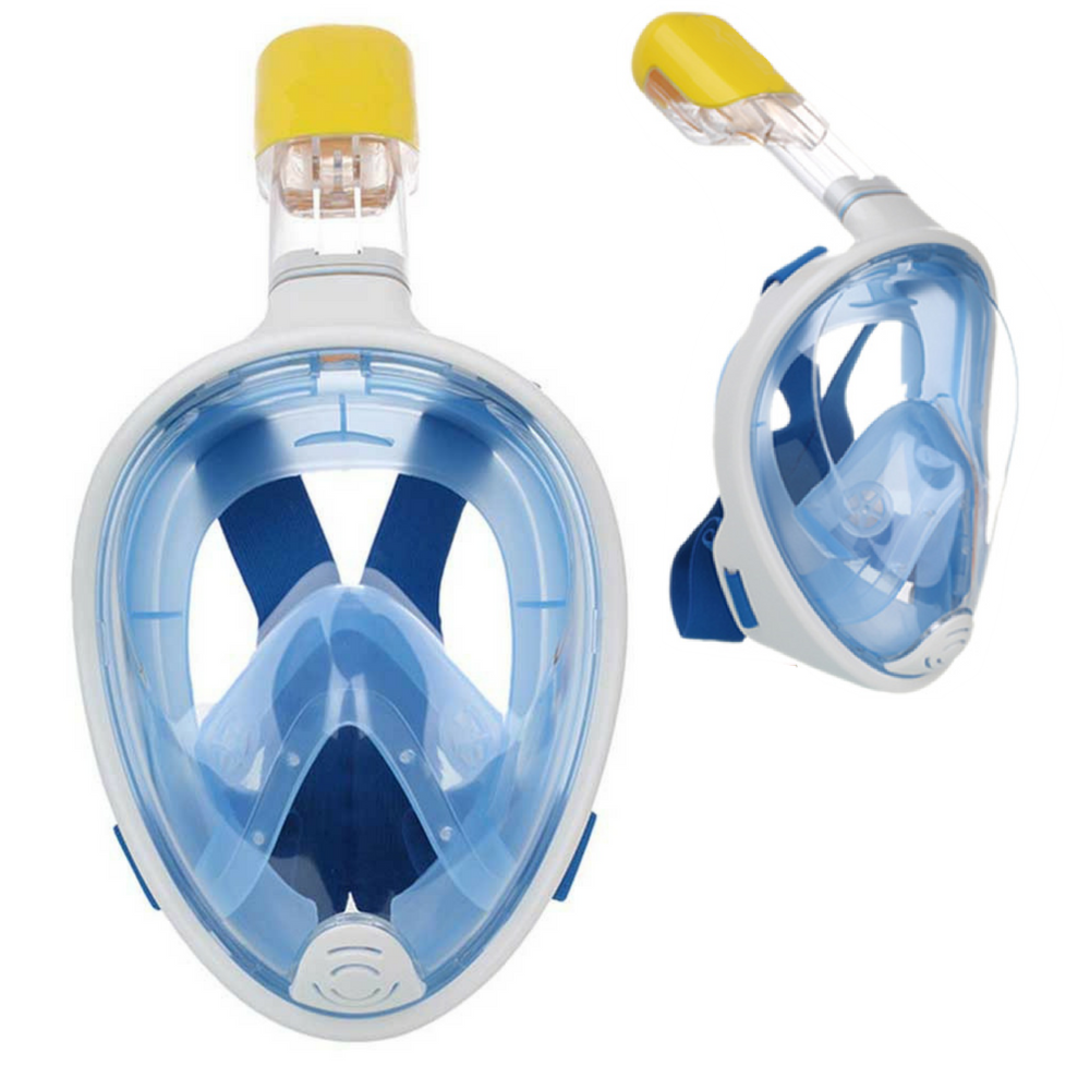 Full Face Snorkel Mask with Anti Fog and Anti-Leak Technology Easy 180 Degree View Blue, Size S M by