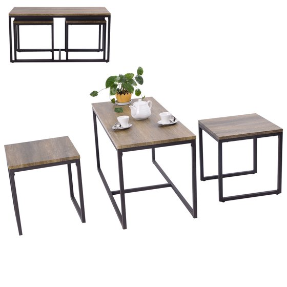Costway 3 piece nesting coffee end table set wood modern for Decor 8 piece lunch set