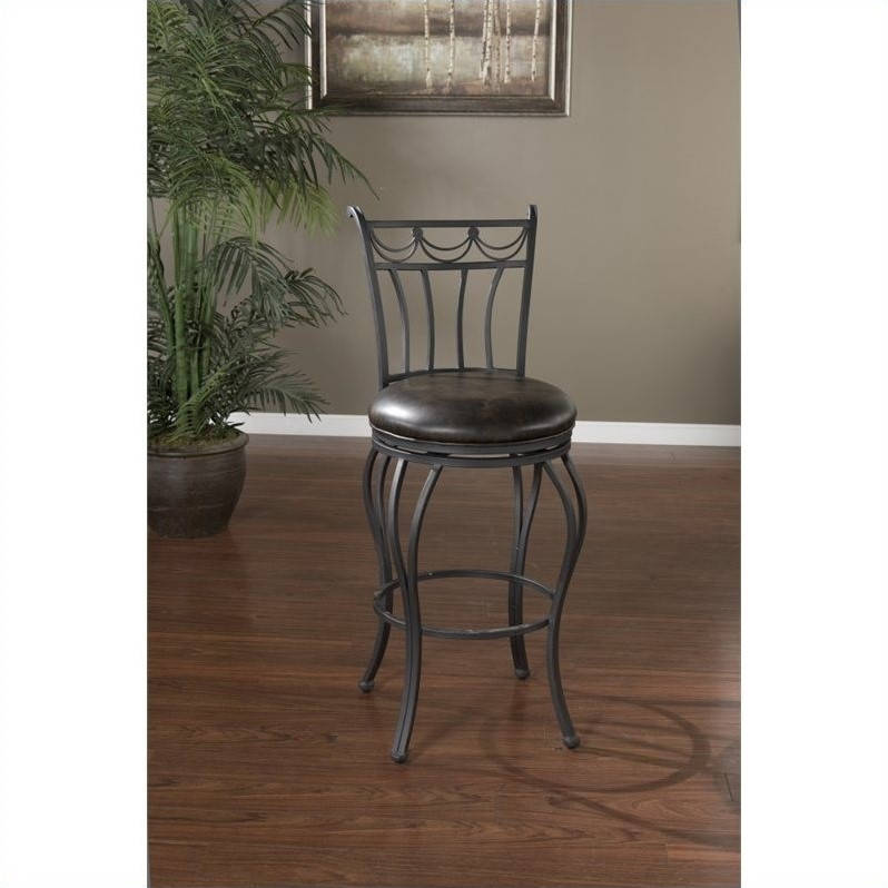 AHB Abella Swivel Bar Stool - Aged Iron with Tobacco Leather