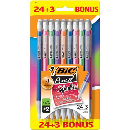 Bic Xtra-Sparkle Mechanical Pencil, Medium Point (0.7mm), #2 HB, 24-Count, For Sharp and Accurate Writing