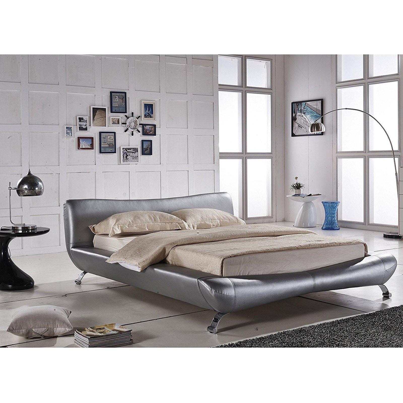 U.S. Pride Furniture Joyce Faux Leather Platform Bed