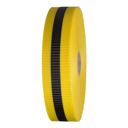 Woven Barricade Tape 2 in x 150 ft Yellow with Black Stri...