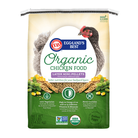 Eggland's Best Organic Egg Layer Mini-Pellets Chicken Food, 32 (Best Commercial Chicken Feed)