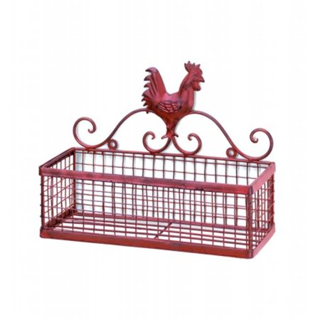 Zingz & Thingz 57071291 Country Red Rooster  Wall Basket