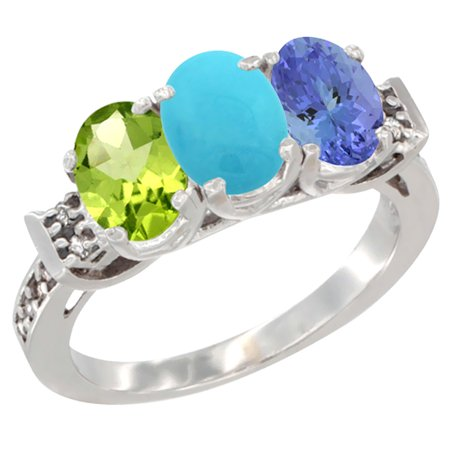 10K White Gold Natural Peridot, Turquoise & Tanzanite Ring 3-Stone Oval 7x5 mm Diamond Accent, sizes 5 - 10
