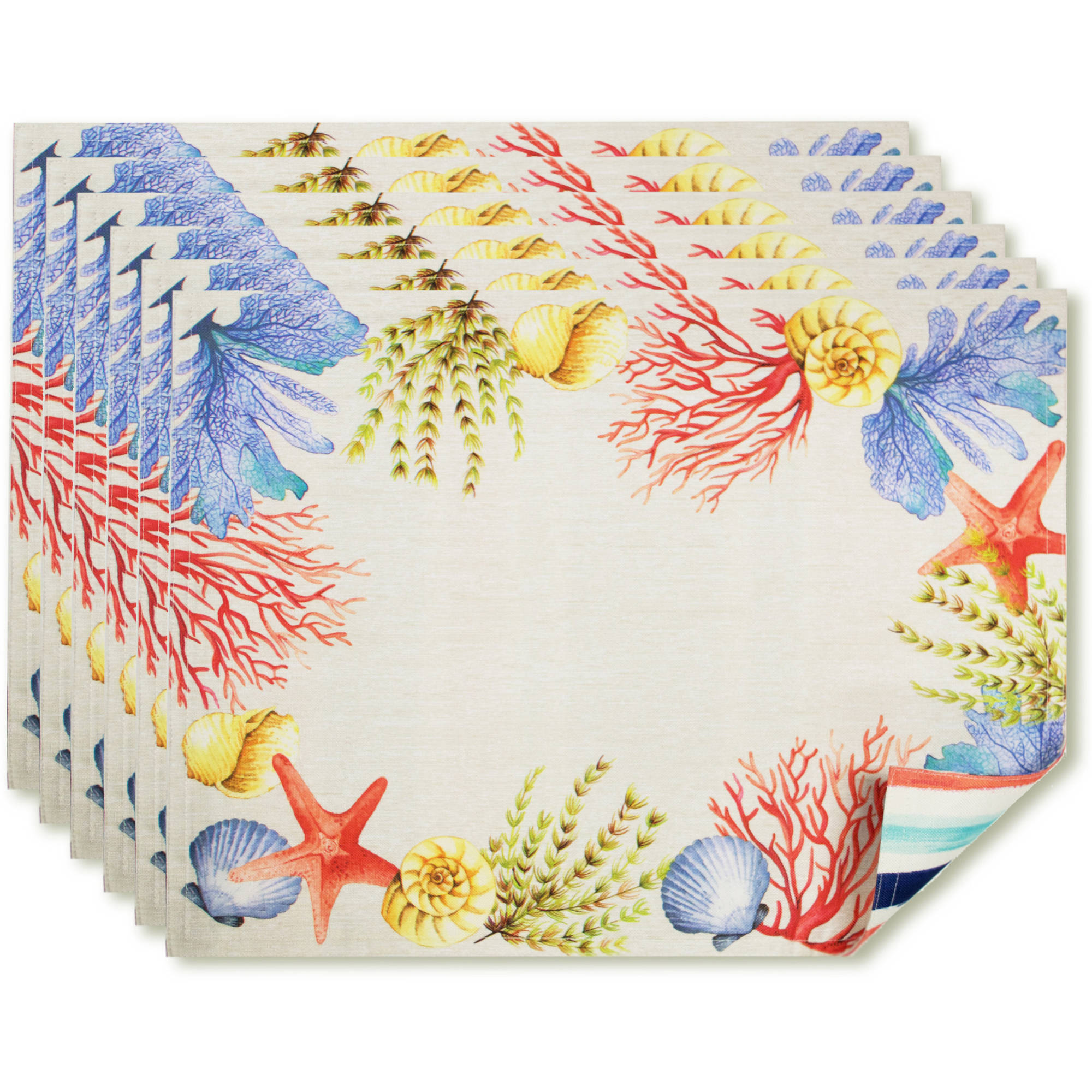 Better Homes and Gardens Reversible Stripe Placemat, 6pk by