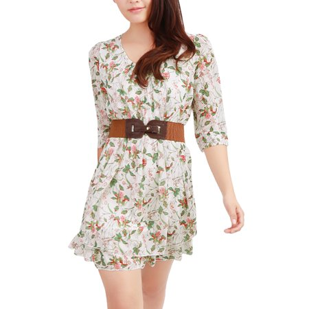 Unique Bargains Women's NEW Scoop Neck 34 Sleeve Above Knee Dress w Elastic Belted Belted - Unique Dress Websites