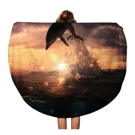 NUDECOR 60 inch Round Beach Towel Blanket Blue Beautiful Dolphin Jumped from The Ocean at Sunset Travel Circle Circular Towels Mat Tapestry Beach Throw - image 2 of 2
