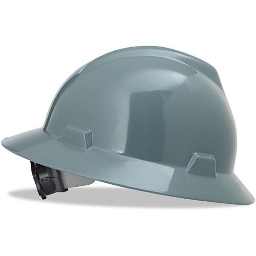 MSA V-Gard Full-Brim Hard Hats, Ratchet Suspension, Size 6 1 2 8, Gray by MSA