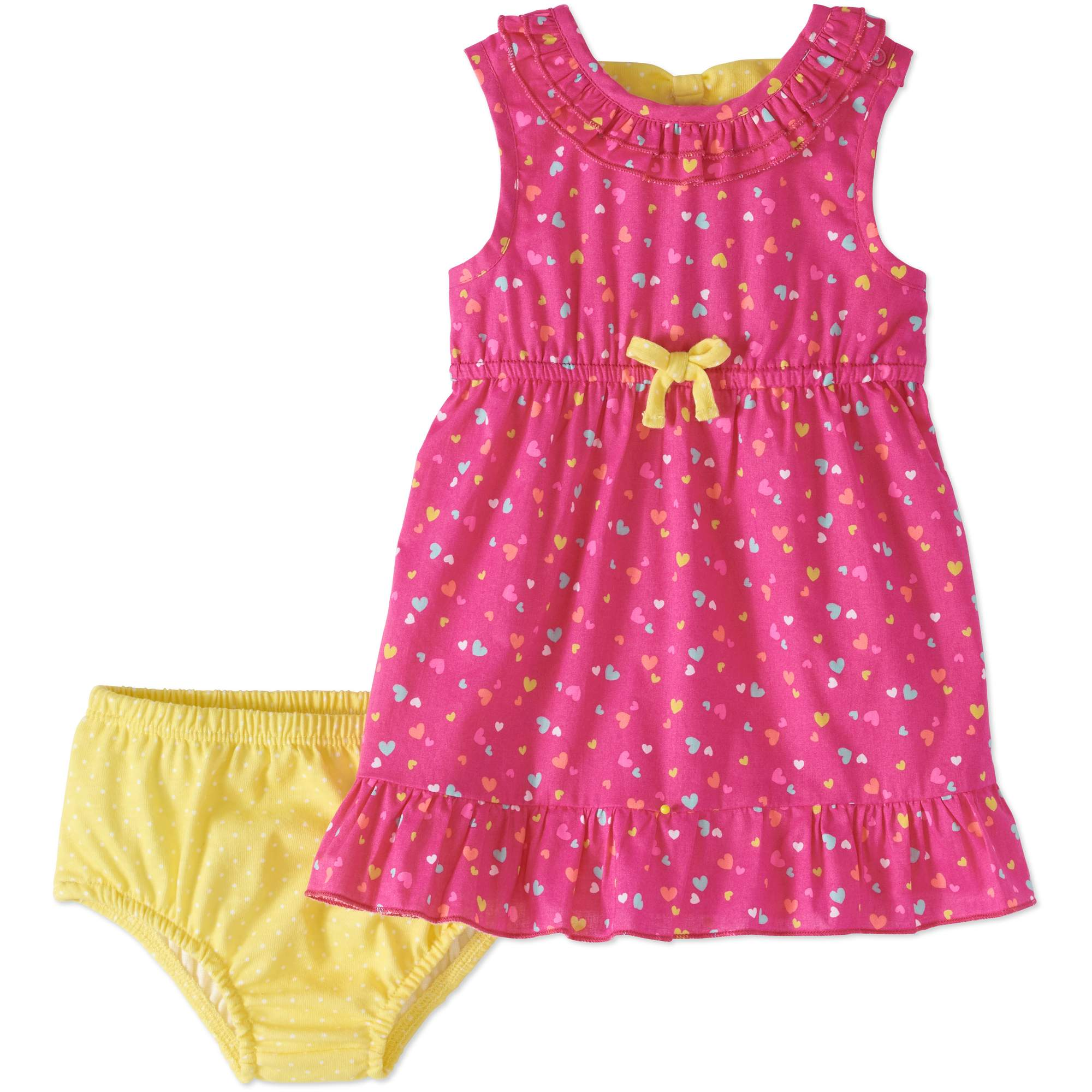 Healthtex Baby Girl Back-Bow Woven Ruffle Dress & Diaper Cover, 2pc Set